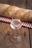 Grappa with Bread Stock Photo