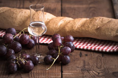 Grappa with Grape and Bread Stock Photos