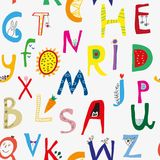 Grappig alfabet naadloos patroon voor jonge geitjes, leuke deisgn Vector illustratie Stock Afbeelding