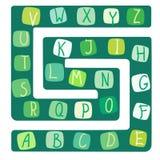 Grappig alfabet Vectorillustratie van een raadsspel met het alfabet stock illustratie