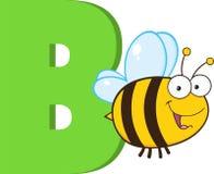 Grappig Beeldverhaal alfabet-B met Bij Stock Afbeelding