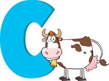 Grappig Beeldverhaal alfabet-C met Koe Royalty-vrije Stock Afbeelding