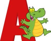 Grappig Beeldverhaal alfabet-A met Alligator Stock Foto