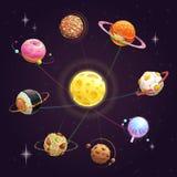 Grappig beeldverhaal creatief yummy zonnestelsel Snel geplaatste voedselplaneten stock illustratie