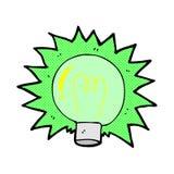 grappig beeldverhaal die groene gloeilamp opvlammen Stock Afbeeldingen