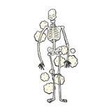 grappig beeldverhaal stoffig oud skelet Stock Afbeelding