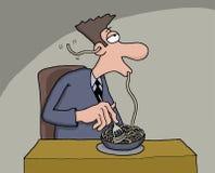Grappig beeldverhaal van een mens die spaghetti eten Royalty-vrije Stock Afbeeldingen
