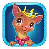 Grappig beeldverhaal vierkant app pictogram met weinig hond royalty-vrije illustratie