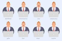Grappig beeldverhaalkarakter Beambten van verschillende emoties, woede, vreugde, ernst, vrees, pret Royalty-vrije Stock Foto's