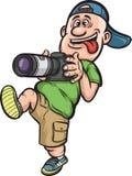 Grappig beeldverhaalkarakter - lopende fotograaf Royalty-vrije Stock Foto's