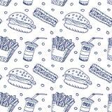Grappig beeldverhalen snel voedsel Naadloze schets Stock Afbeelding