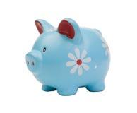 Grappig blauw spaarvarken Royalty-vrije Stock Afbeelding