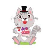 Grappig Cat In Bowler Hat And-Monocle, en Cake in Zijn Handen Royalty-vrije Stock Foto's