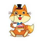 Grappig Cat In Bowler Hat And-Monocle, en Cake in Zijn Handen De vectorillustratie van Beeldverhaaldieren Stock Fotografie