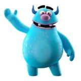 Grappig 3D monster, vrolijk die beeldverhaal op witte achtergrond wordt geïsoleerd Stock Foto