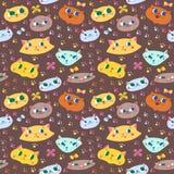 Grappig de katten naadloos vectorpatroon van het krabbelbeeldverhaal Royalty-vrije Stock Fotografie