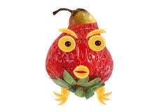 Grappig die portret van aardbeien, bananen en sinaasappelen wordt gemaakt Royalty-vrije Stock Fotografie