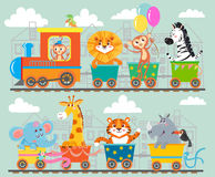 Grappig dier op trein royalty-vrije illustratie