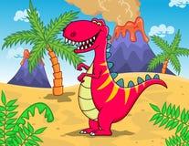 Grappig dinosaurusT -t-rex beeldverhaal Royalty-vrije Stock Afbeeldingen