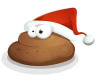 Grappig Dung With Santa Hat stock illustratie