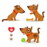 Grappig en Droevige honden Beeldverhaal Vector Vastgestelde Illustraties op een Witte Achtergrond Honden Grappige Gezichten Royalty-vrije Stock Foto's