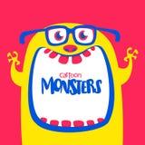 Grappig geel gehoornd beeldverhaalmonster die oogglazen dragen Grappig monster met wijd geopende mond De vectorillustratie van Ha royalty-vrije illustratie