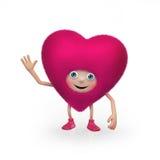 Grappig gelukkig pluizig roze het hartkarakter van de Valentijnskaart Royalty-vrije Stock Foto's