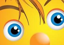 Grappig gezicht met grote ogen Stock Foto