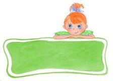 Grappig glimlachend meisje met bogen vector illustratie