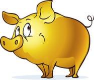 Grappig gouden varkenssymbool van overvloed en welvaart - vectorillustratie stock illustratie