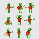 Grappig groen karakter Stock Foto