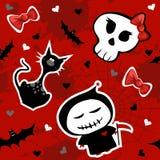 Grappig Halloween karakters naadloos patroon Stock Afbeeldingen