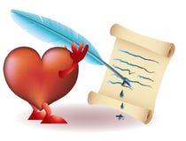Grappig hart met papirys en pen Stock Foto's
