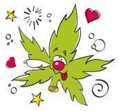 Grappig het lachen marihuanablad Stock Afbeeldingen