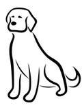 Grappig hond zwart die overzicht op de witte achtergrond wordt geïsoleerd Royalty-vrije Stock Fotografie