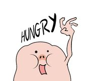 Grappig hongerig schepsel stock illustratie