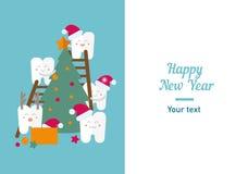 Grappig illustratie, tanden en Nieuwjaar Stock Afbeelding