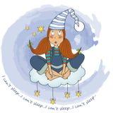 Grappig jong meisje dat slapeloosheid heeft royalty-vrije illustratie