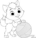Grappig katje met een bal van draden royalty-vrije illustratie