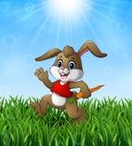 Grappig konijnbeeldverhaal die een wortel in het gras op een achtergrond van heldere zonneschijn houden Royalty-vrije Stock Fotografie