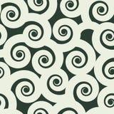 Grappig krullen naadloos patroon, zwart-witte vectorachtergrond Royalty-vrije Stock Foto's