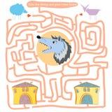Grappig labyrint Help de schapen en de geit naar huis komen Stock Fotografie