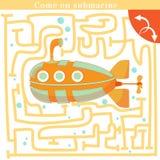 Grappig labyrint Kom op onderzeeër Royalty-vrije Stock Afbeeldingen