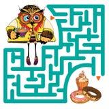 Grappig labyrint met uil Stock Afbeeldingen