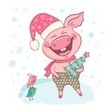Grappig leuk het lachen varken gekleed in een hoed met sneeuwvlokken royalty-vrije stock foto