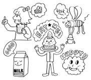 Grappig leuk voedselbeeldverhaal Stock Afbeeldingen