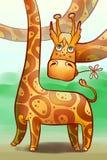 Grappig longnecked giraf Royalty-vrije Stock Afbeelding