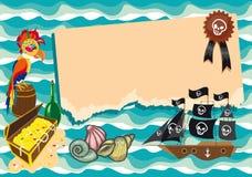 Grappig malplaatje op piraatthema. Stock Fotografie