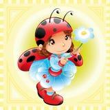 Grappig meisje-Lieveheersbeestje Stock Afbeeldingen