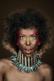 Grappig meisje met afrohaar Royalty-vrije Stock Afbeelding